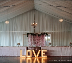 Eliza and Keean Simple Country Wedding Table LOVE Sign Chandeliers