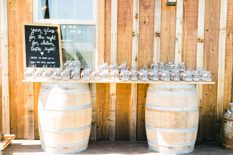 Reverie Gallery Simple Country Wedding Rentals Wine Barrel Bar Mason Jars