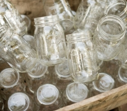 Mason Jars in Wooden Crate