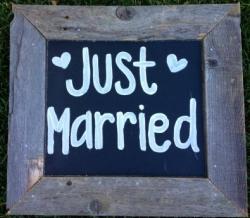 JUST MARRIED Vintage Wood sign
