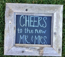 Cheers To The New Mr. & Mrs. Vintage Wood Sign