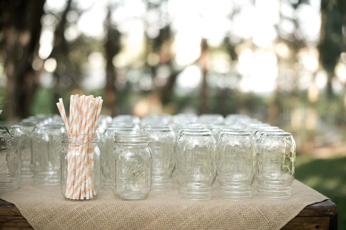 What's a country wedding without a mason jar to drink from?