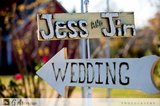 While we have a number of pre-made wedding and reception signs in stock that are available for you to use on your special day, we also offer personalized signs, such as this, to make your day, truly yours.